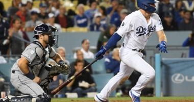 Los Angeles Dodgers infielder Gavin Lux hits an RBI single