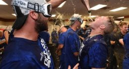 Gavin Lux celebrates after the Los Angeles Dodgers clinch the NL West during the 2019 season