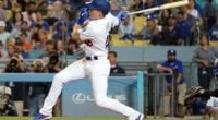Los Angeles Dodgers infielder Gavin Lux hits a single