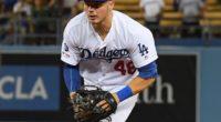 Los Angeles Dodgers infielder Gavin Lux fields a ground ball
