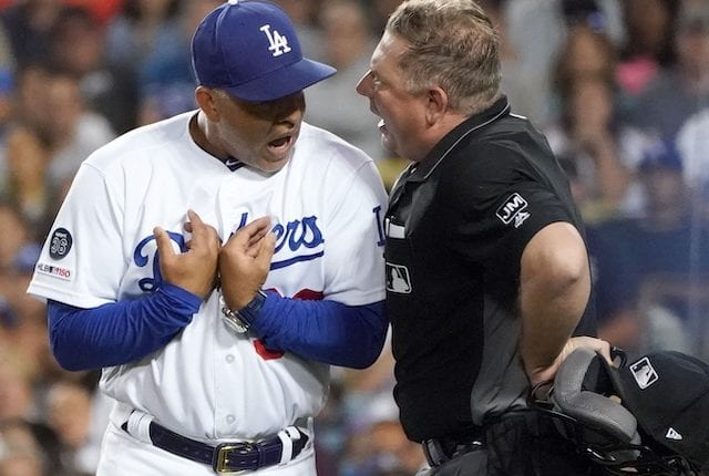 Los Angeles Dodgers manager Dave Roberts is ejected by home-plate umpire Greg Gibson