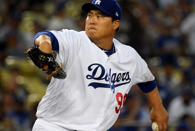 Los Angeles Dodgers pitcher Hyun-Jin Ryu against the Colorado Rockies