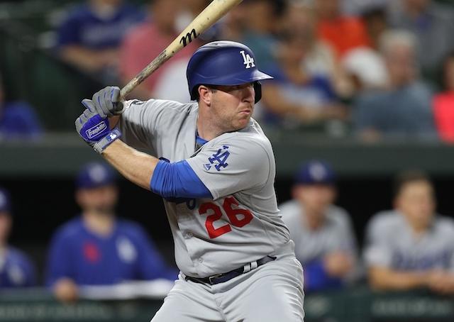 Los Angeles Dodgers infielder Jedd Gyorko at bat against the Baltimore Orioles
