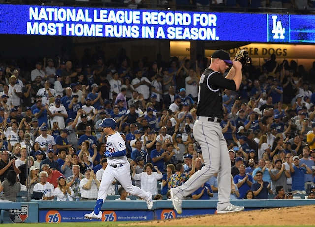 Los Angeles Dodgers outfielder Joc Pederson rounds the bases after hitting a home run