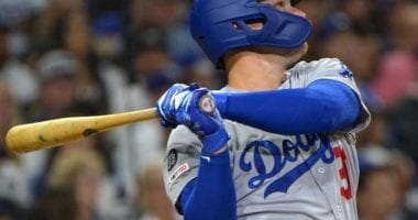 Los Angeles Dodgers outfielder Joc Pederson hits a home run against the San Diego Padres