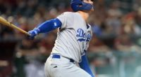 Los Angeles Dodgers outfielder Joc Pederson watches a home run