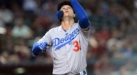 Los Angeles Dodgers outfielder Joc Pederson celebrates after hitting a home run against the Arizona Diamondbacks