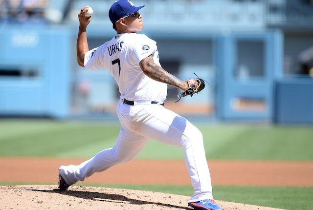 Los Angeles Dodgers pitcher Julio Urias against the San Francisco Giants