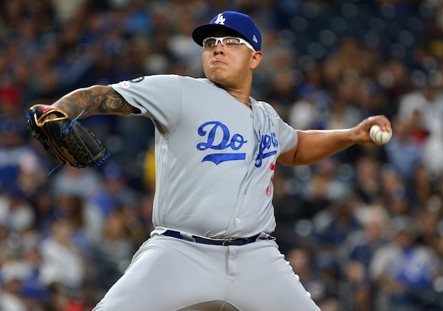 Los Angeles Dodgers pitcher Julio Urias against the San Diego Padres