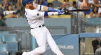 Los Angeles Dodgers third baseman Justin Turner hits a home run