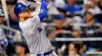Los Angeles Dodgers third baseman Justin Turner at bat against the New York Mets