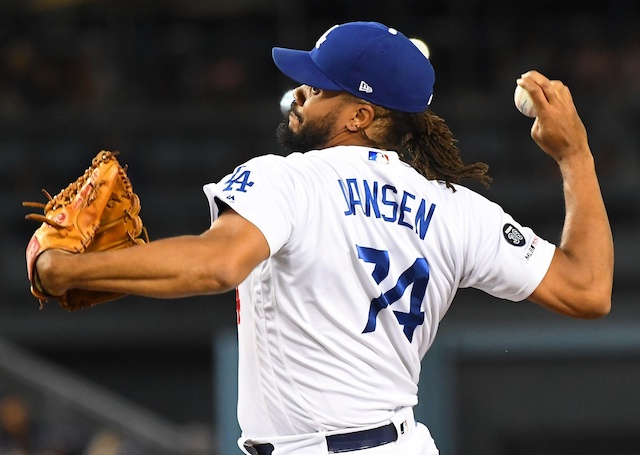 Los Angeles Dodgers closer Kenley Jansen against the Tampa Bay Rays