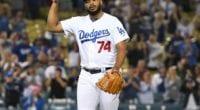 Los Angeles Dodgers closer Kenley Jansen celebrates after a save