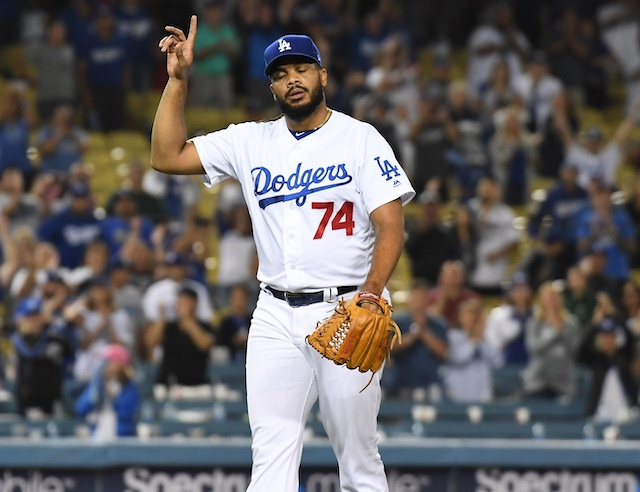 Los Angeles Dodgers closer Kenley Jansen celebrates after a save
