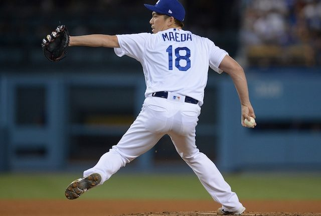 Los Angeles Dodgers pitcher Kenta Maeda against the Colorado Rockies
