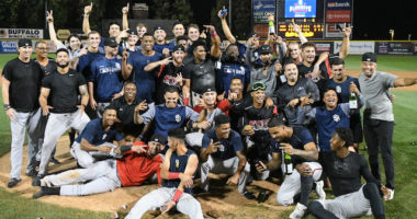 Lake Elsinore Storm (San Diego Padres affiliate) celebrate after eliminating the Rancho Cucamonga Quakes (Los Angeles Dodgers) from the 2019 California League playoffs