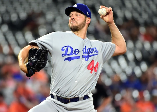 Los Angeles Dodgers pitcher Rich Hill during a start against the Baltimore Orioles