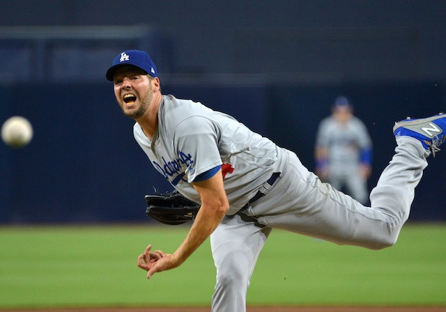 Los Angeles Dodgers pitcher Rich Hill against the San Diego Padres