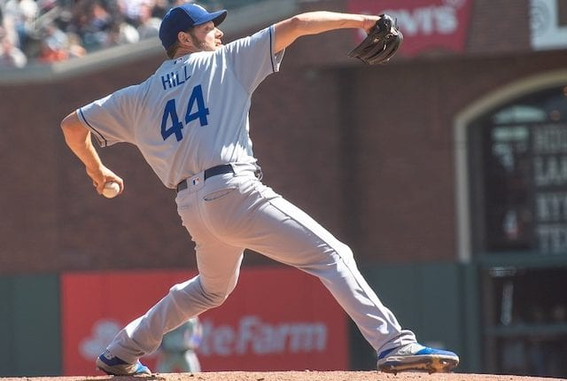Los Angeles Dodgers starting pitcher Rich Hill against the San Francisco Giants