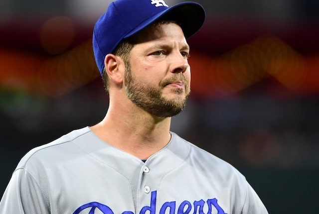 Los Angeles Dodgers pitcher Rich Hill looks on during a start against the Baltimore Orioles
