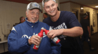 Former Los Angeles Dodgers manager Tommy Lasorda with Joc Pederson to celebrate clinching the 2019 NL West