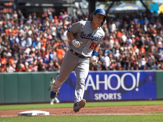 Los Angeles Dodgers catcher Will Smith rounds the bases after hitting a home run