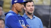 Los Angeles Dodgers president of baseball operations Andrew Friedman and manager Dave Roberts during a workout at Dodger Stadium for the 2019 NLDS