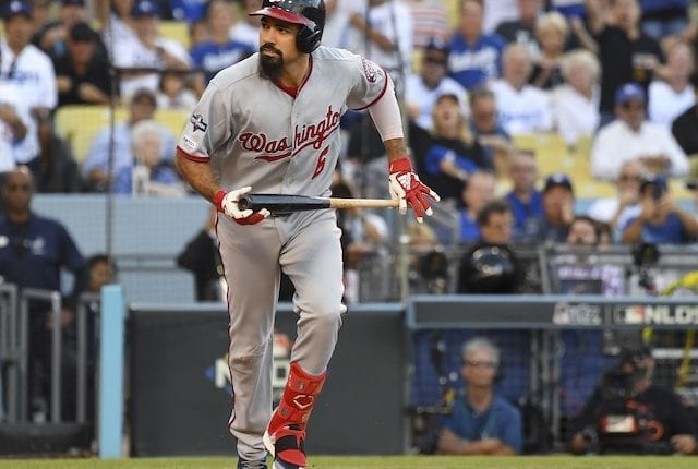 Washington Nationals infielder Anthony Rendon strikes out during Game 1 of the 2019 NLDS
