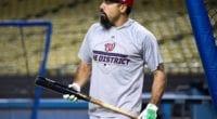 Washington Nationals third baseman Anthony Rendon during a 2019 NLDS workout at Dodger Stadium