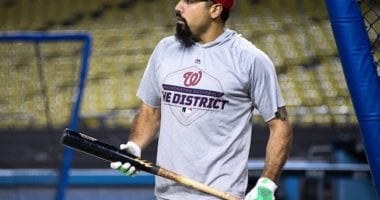Washington Nationals third baseman Anthony Rendon during a 2019 NLDS workout at Dodger Stadium