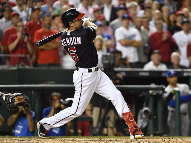 Washington Nationals third baseman Anthony Rendon hits an RBI single during Game 4 of the 2019 NLDS