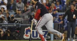 Washington Nationals third baseman Anthony Rendon watches his home run during Game 5 of the 2019 NLDS