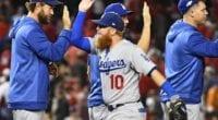 Austin Barnes, Clayton Kershaw, Joc Pederson, Justin Turner, Dodgers win, 2019 NLDS