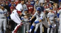 Los Angeles Dodgers utility play Chris Taylor scores a run during Game 3 of the 2019 NLDS