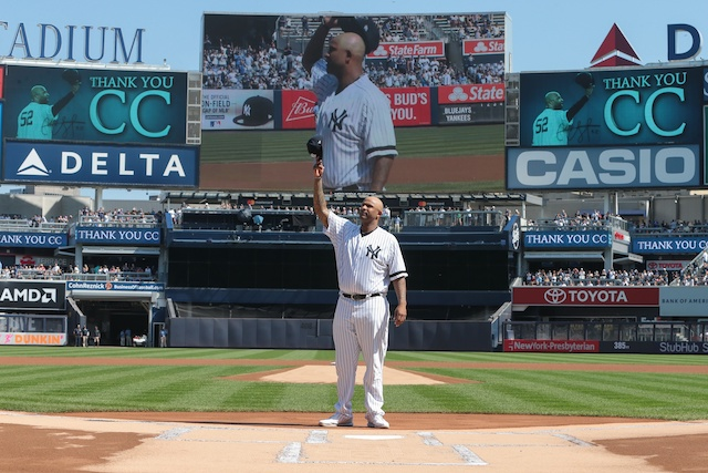 Pitcher CC Sabathia thanks New York Yankees fans before a home game