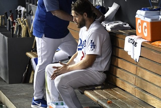 Los Angeles Dodgers starting pitcher Clayton Kershaw in the dugout during Game 2 of the 2019 NLDS