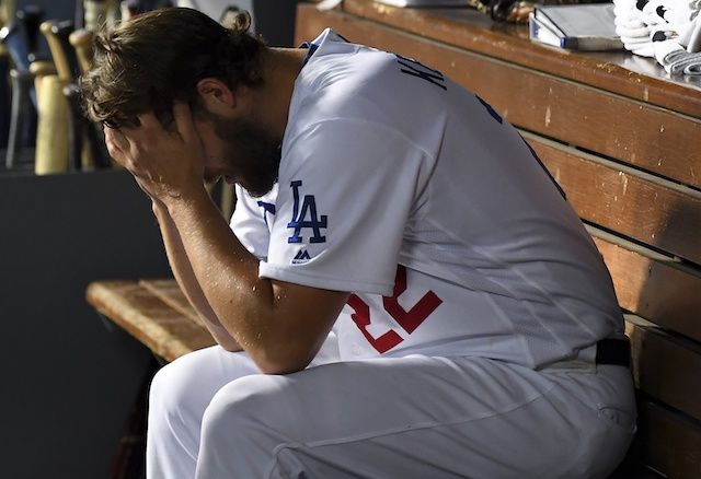 Los Angeles Dodgers starting pitcher Clayton Kershaw in the dugout during Game 5 of the 2019 NLDS