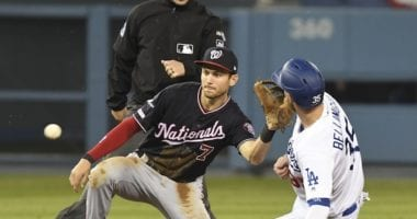 Los Angeles Dodgers All-Star Cody Bellinger steals second base during Game 5 of the 2019 NLDS