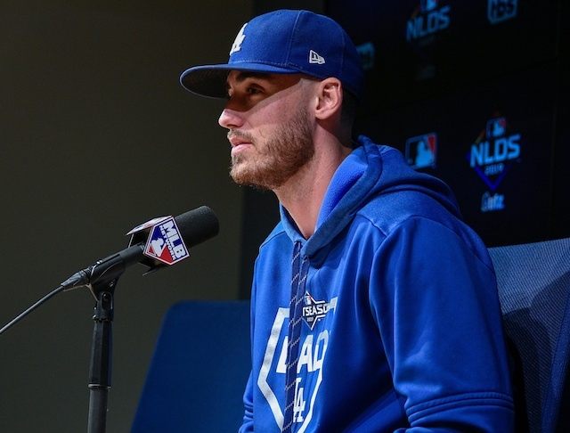 Los Angeles Dodgers All-Star Cody Bellinger during a press conference before a 2019 NLDS workout at Dodger Stadium