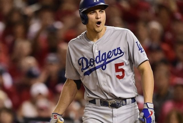 Los Angeles Dodgers shortstop Corey Seager reacts during the 2019 NLDS