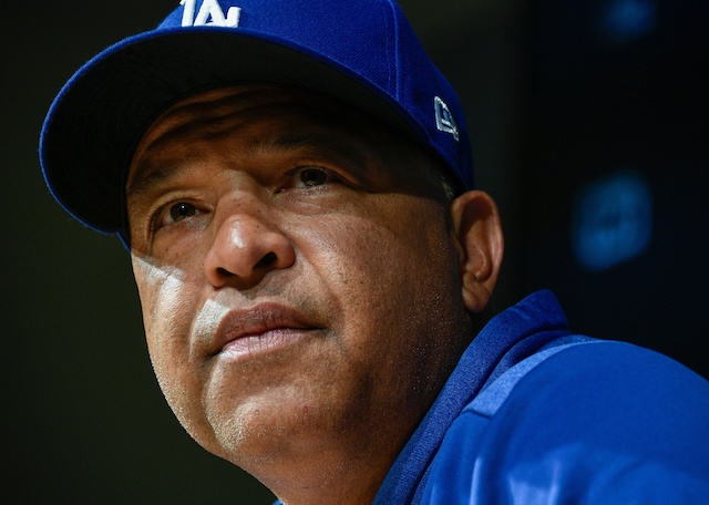 Los Angeles Dodgers manager Dave Roberts during a press conference before a 2019 NLDS workout at Dodger Stadium
