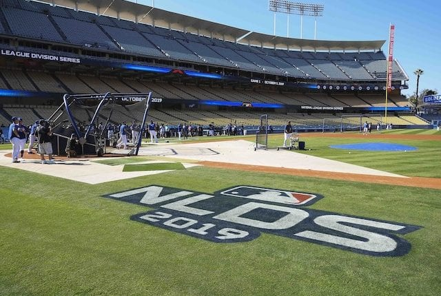 General view of Dodger Stadium during batting practice before Game 1 of the 2019 NLDS