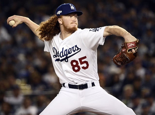 Los Angeles Dodgers pitcher Dustin May during Game 2 of the 2019 NLDS