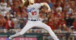 Los Angeles Dodgers pitcher Dustin May in Game 4 of the 2019 NLDS