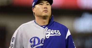 Los Angeles Dodgers starting pitcher Hyun-Jin Ryu before Game 3 of the 2019 NLDS