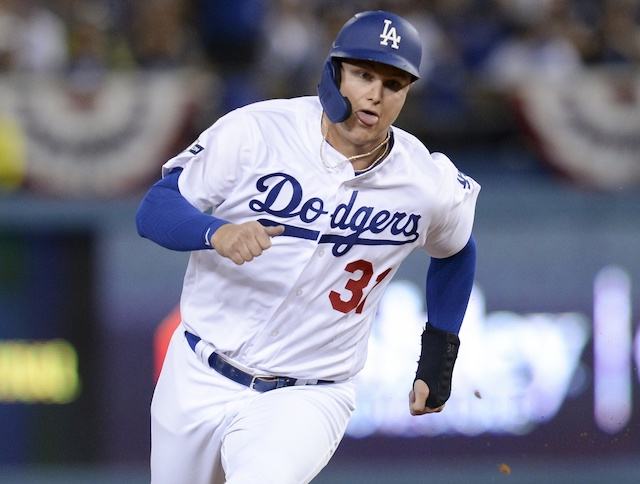 Los Angeles Dodgers outfielder Joc Pederson runs the bases during Game 1 of the 2019 NLDS