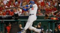Los Angeles Dodgers third baseman Justin Turner hits a home run in Game 4 of the 2019 NLDS