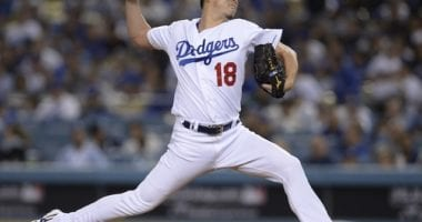 Los Angeles Dodgers pitcher Kenta Maeda against the Washington Nationals in Game 1 of the 2019 NLDS