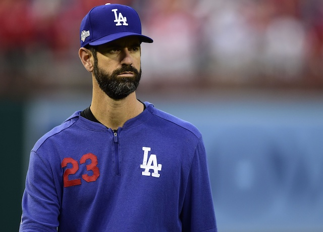 Los Angeles Dodgers bullpen coach Mark Prior before Game 3 of the 2019 NLDS