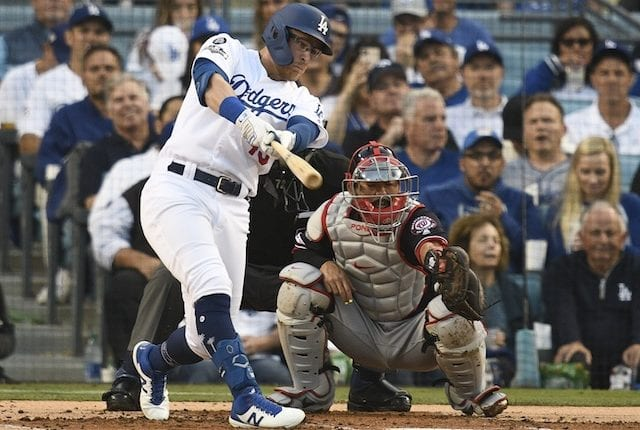 Los Angeles Dodgers utility player Matt Beaty hits a single during Game 5 of the 2019 NLDS